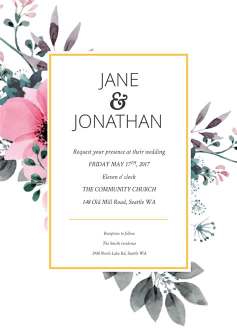 Floral Splash Wedding Invitation Template | Wedding