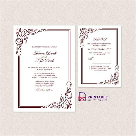 Wedding Invitation Templates Free PDFs - with easy to edit
