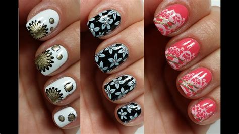 3 Easy Nail Art Designs for Short Nails | Stamping - YouTube