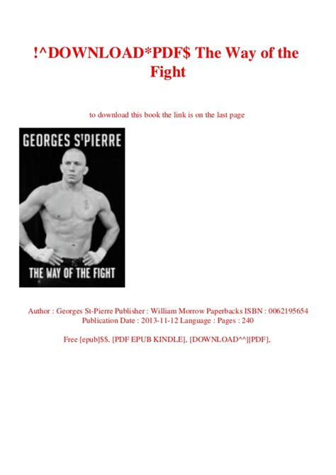 Downloadpdf The Way Of The Fight Read Pdf Ebook