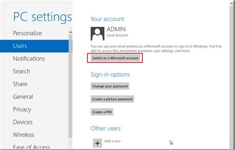 How do I change a local account to a microsoft account