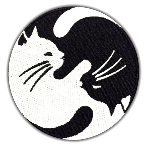 Yin Yang CAT Symbol Embroidered Patch Black & White Iron
