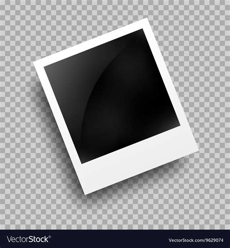 Photo frame polaroid template on transparent grid Vector Image